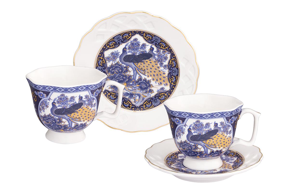 Кофейная пара Elan Gallery Павлин синий, 4 предмета, 100 мл180996/павлинКофейный набор на 2 персоны понравится любителям кофе. В комплекте 2 чашки объемом 100 мл, 2 блюдца. Изделие имеет подарочную упаковку, поэтому станет желанным подарком для Ваших близких!