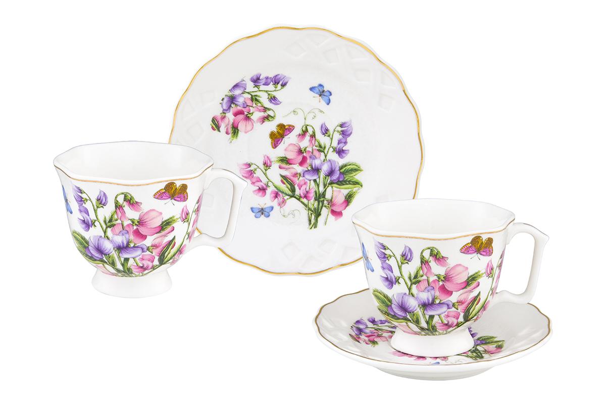 Кофейная пара Elan Gallery Душистый цветок, 4 предмета180998/цветокКофейный набор на 2 персоны понравится любителям кофе. В комплекте 2 чашки объемом 100 мл, 2 блюдца. Изделие имеет подарочную упаковку, поэтому станет желанным подарком для Ваших близких!