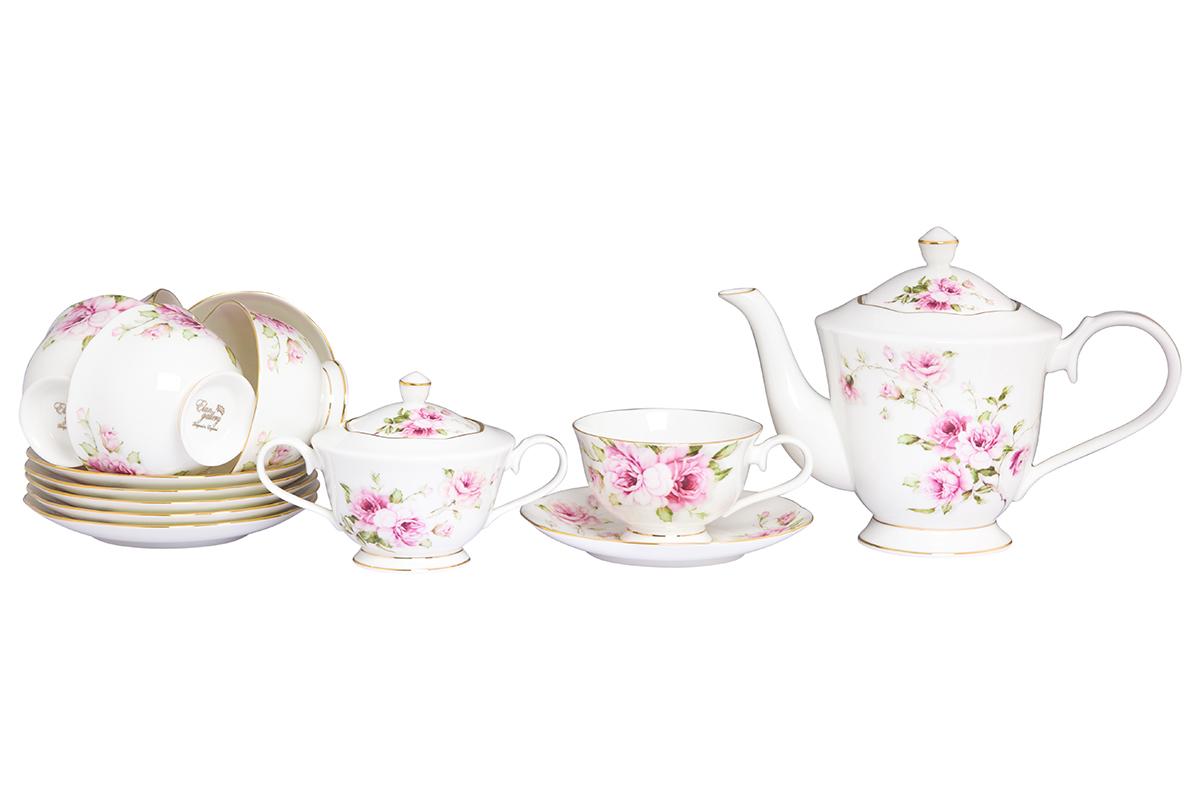Чайный набор Elan Gallery Амалия, 14 предметов115510Изысканный чайный набор с цветочным декором на 6 персон украсит Ваше чаепитие. В комплекте 6 чашек объемом 220 мл, 6 блюдец, сахарница объемом 350 мл, чайник объемом 1 л. Изделие имеет подарочную упаковку, поэтому станет желанным подарком для Ваших близких! Соберите всю коллекцию предметов сервировки Амалия и Ваши гости будут в восторге!