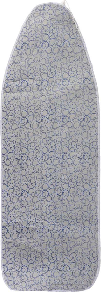 Чехол для гладильной доски Paterra, антипригарный, с поролоном, цвет: серый, синий, 126 х 46 см402-485_серый, синийАнтипригарный чехол для гладильной доски Paterra необходим для обеспечения идеального результата в процессе глажения вещей. Он имеет хлопковую основу с особой антипригарной пропиткой из силикона, которая исключает пригорание одежды к чехлу в процессе глажения. Силиконовая пропитка обеспечивает эффект двустороннего глажения: чехол, нагреваясь, отдает тепло вещам. Натуральный хлопок в составе обеспечивает максимальную скорость скольжения утюга и 100% паропроницаемость. Хлопковый чехол имеет подкладку из поролона (мягкого пенополиуретана) оптимальной толщины (4 мм), которая не истончается со временем. Затяжной шнур определяет удобную и надежную фиксацию чехла на доске. Кроме того, наличие шнура делает чехол пригодным для гладильной доски любой формы и меньшего размера. Край хлопкового чехла обработан особой лентой, предотвращающей распускание ткани. Устойчивый рисунок сохраняется длительное время, даже под воздействием высоких температур. ...
