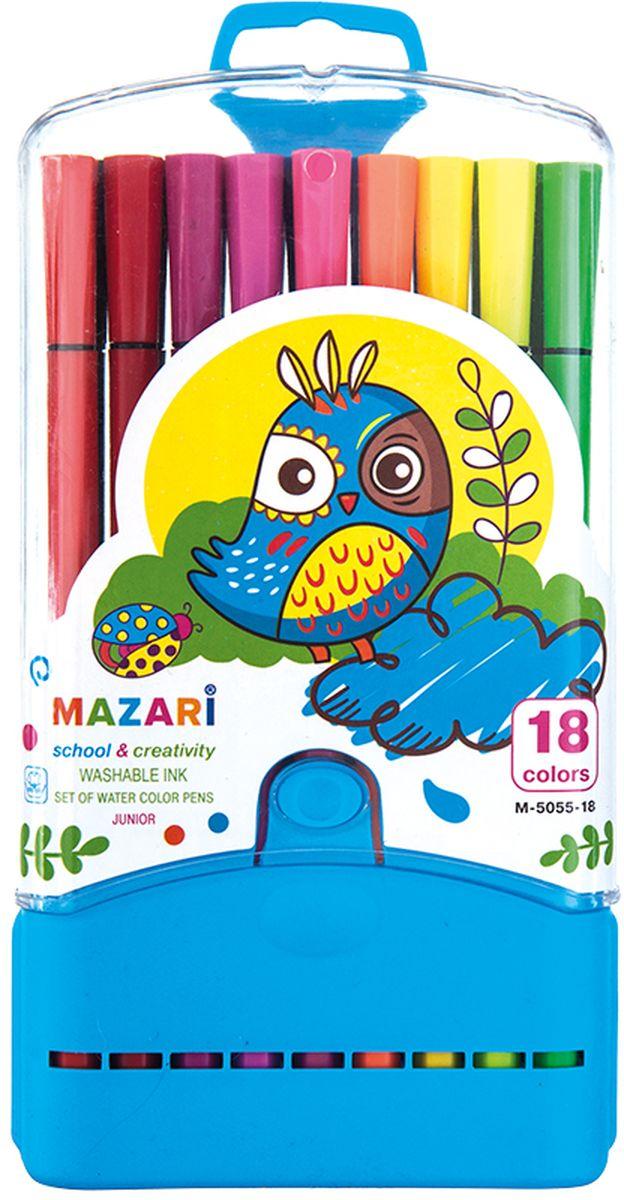 Mazari Набор фломастеров Junior 18 цветов М-5055-18М-5055-18Фломастеры JUNIOR, 18цв., вентилируемый колпачок, в пластиковом пенале