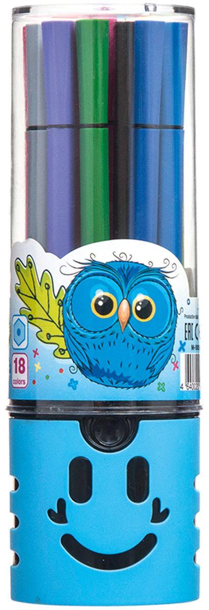 Mazari Набор фломастеров Junior 18 цветов цвет футляра голубойFS-00897Яркие фломастеры Mazari Junior помогут маленькому художнику раскрыть свой творческий потенциал, рисовать и раскрашивать яркие картинки, развивая воображение, мелкую моторику и цветовосприятие. В наборе 18 разноцветных фломастеров. Корпусы выполнены из пластика. Чернила на водной основе нетоксичны, благодаря чему полностью безопасны для ребенка и имеют яркие, насыщенные цвета. Если маленький художник запачкался - не беда, ведь фломастеры отстирываются с большинства тканей. Вентилируемый колпачок надолго сохранит яркость цветов.Набор фломастеров упакован в удобный пластиковый пенал, оформленный изображением забавной мордочки.