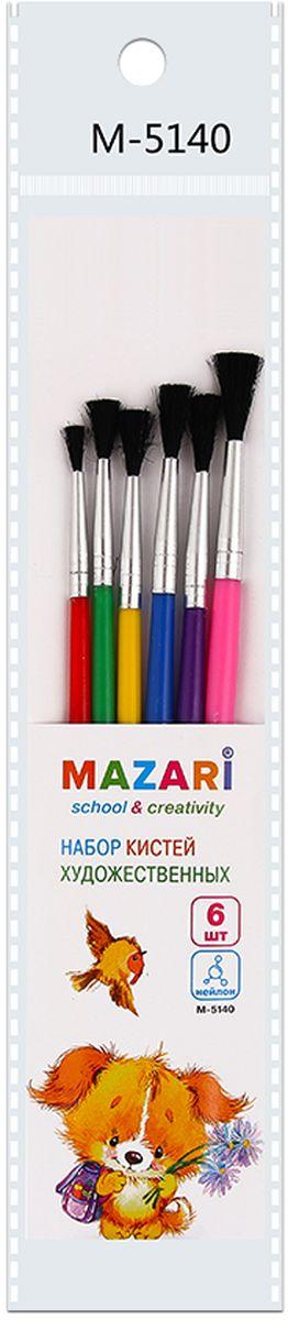 Mazari Набор кистей из нейлона №1, 2, 3, 4, 5, 6 (6 шт)321.104Набор художественных кистей «Mazari» идеально подойдет для художественных и декоративно-оформительских работ. Щетина изготовлена из нейлона.Такие кисти прекрасно подойдут для масляных красок и акрила. В набор входят кисти № 1, 2, 3, 4, 5, 6.