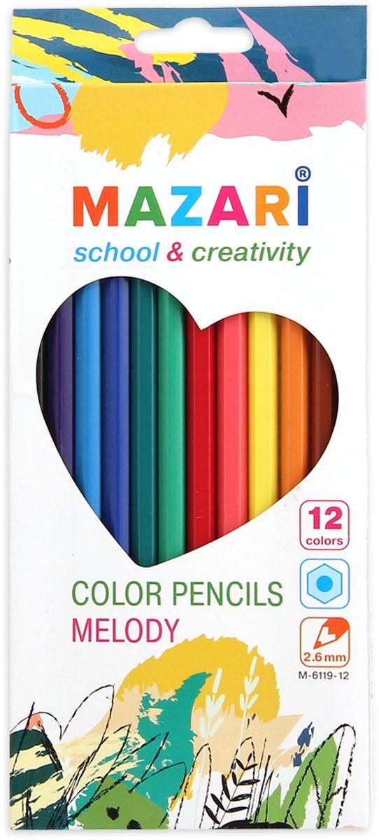 Mazari Набор цветных карандашей Melody 12 цветовМ-6119-12Карандаши цветные Mazari Melody предназначены для письма, рисования и черчения. Карандаши имеют шестигранную форму, диаметр грифеля - 2,6 мм. В наборе 12 карандашей ярких цветов.