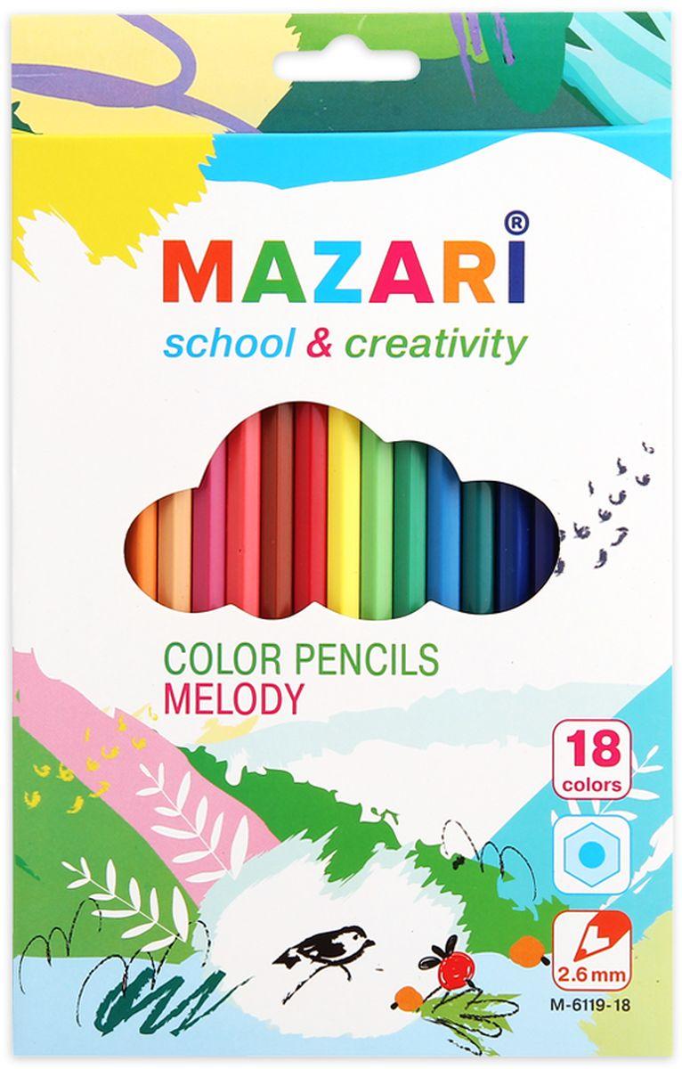 Mazari Набор цветных карандашей Melody 18 цветовМ-6119-18Карандаши цветные Melody, 18цв., шестигранный корпус,d грифеля=2,6 мм. картонная коробка с европодвесом