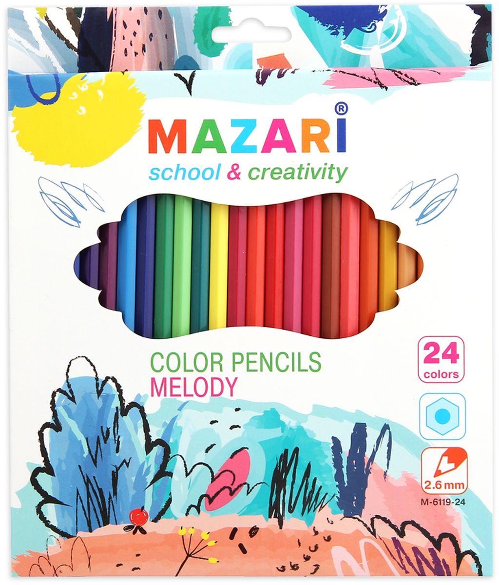 Mazari Набор цветных карандашей Melody 24 цветаМ-6119-24Карандаши цветные Mazari Melody предназначены для письма, рисования и черчения. Карандаши имеют шестигранную форму, диаметр грифеля - 2,6 мм. В наборе 24 карандаша ярких цветов.