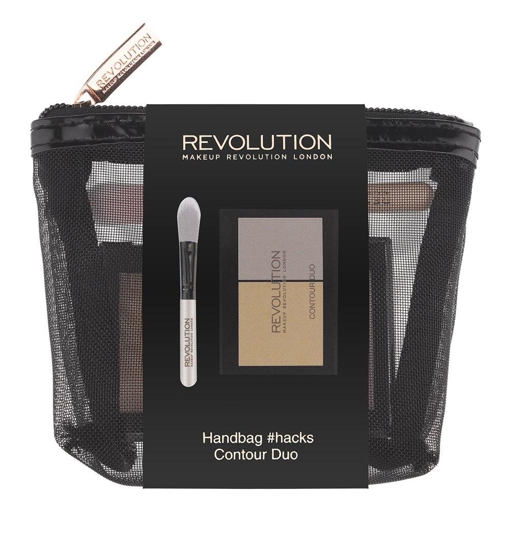 Makeup Revolution Набор для макияжа Handbag #hacks Contour Duo20217Все, что нужно для контуринга, - в одной компактной косметичке! Палетка для безупречного контуринга Contour Duo, включающая матовый оттенок контурирующей пудры и сияющий хайлайтер, а также мини-кисть для их нанесения и растушевки - в стильной компактной косметичке.
