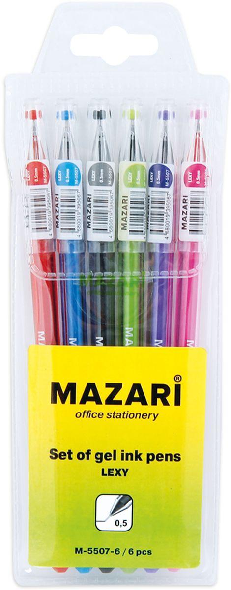 Mazari Набор гелевых ручек Lexy 6 цветовМ-5507-6Набор разноцветных гелевых ручек Mazari Lexy отлично подойдет для школы или офиса. Гелевая ручка имеет игольчатый пишущий узел 0,5 мм. Качественные гелевые чернила не требуют давления на пишущую поверхность, обеспечивая чёткие и плавные линии, а полупрозрачный корпус позволяет контролировать их расход. В наборе: 6 ручек красного, зеленого, синего, фиолетового, розового и черного цвета.