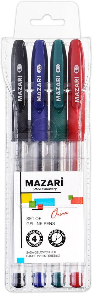 Mazari Набор гелевых ручек Orion 4 цветаМ-5530-4Набор разноцветных гелевых ручек Mazari Mistry отлично подойдет для школы или офиса. Гелевая ручка имеет игольчатый пишущий узел 0,5 мм. Качественные гелевые чернила не требуют давления на пишущую поверхность, обеспечивая чёткие и плавные линии, а пластиковый прозрачный корпус с резиновым грипом позволяет контролировать их расход. В наборе: 4 ручки красного, зеленого, синего и черного цвета.