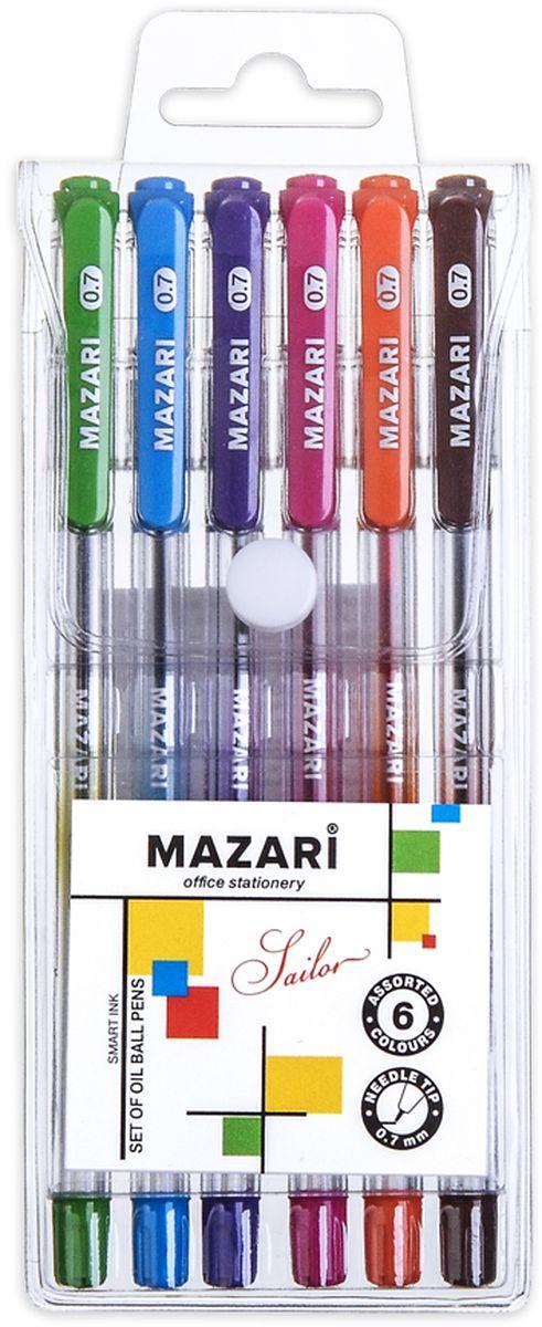 Mazari Набор шариковых ручек Sailor 6 цветов610842Набор шариковых ручек Mazari Sailor состоит из шести разноцветных ручек (синий, зеленый, оранжевый, фиолетовый, розовый, черный). Ручки пишут яркими насыщенными цветами. Чернила изготовлены на масляной основе (Индия). Ручки имеют игольчатый пишущий узел 0,7 мм. Корпус ручек изготовлен из качественного прозрачного пластика с резиновым грипом, что позволяет контролировать расход чернил.Ручки отлично подойдут и для письма, и просто для подчеркивания.