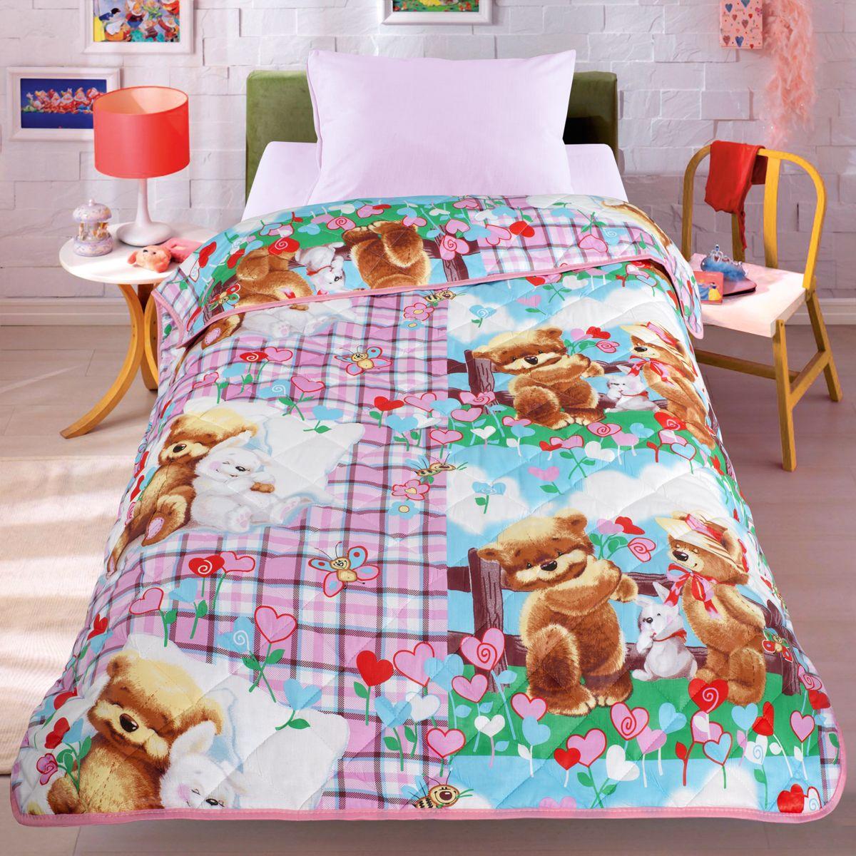 Покрывало-одеяло Letto Мишки и зайка, облегченное, цвет: розовый, 140 x 200 смbear-rabbit140Легкое оригинальное покрывало в чехле будет радовать вас и вашего малыша в течение всего года. Сидеть на таком покрывале будет приятно и комфортно - ведь оно выполнено из 100% хлопка. К тому же покрывало можно использовать и как одеяло на детскую кровать. Дизайн двусторонний. Наполнитель - силиконизированное волокно. Вашему ребенку не будет жарко под таким одеялом, а это значит он не будет раскрываться. Оно подлежит машинной стирке при температуре 30 гр., строго на деликатном режиме.