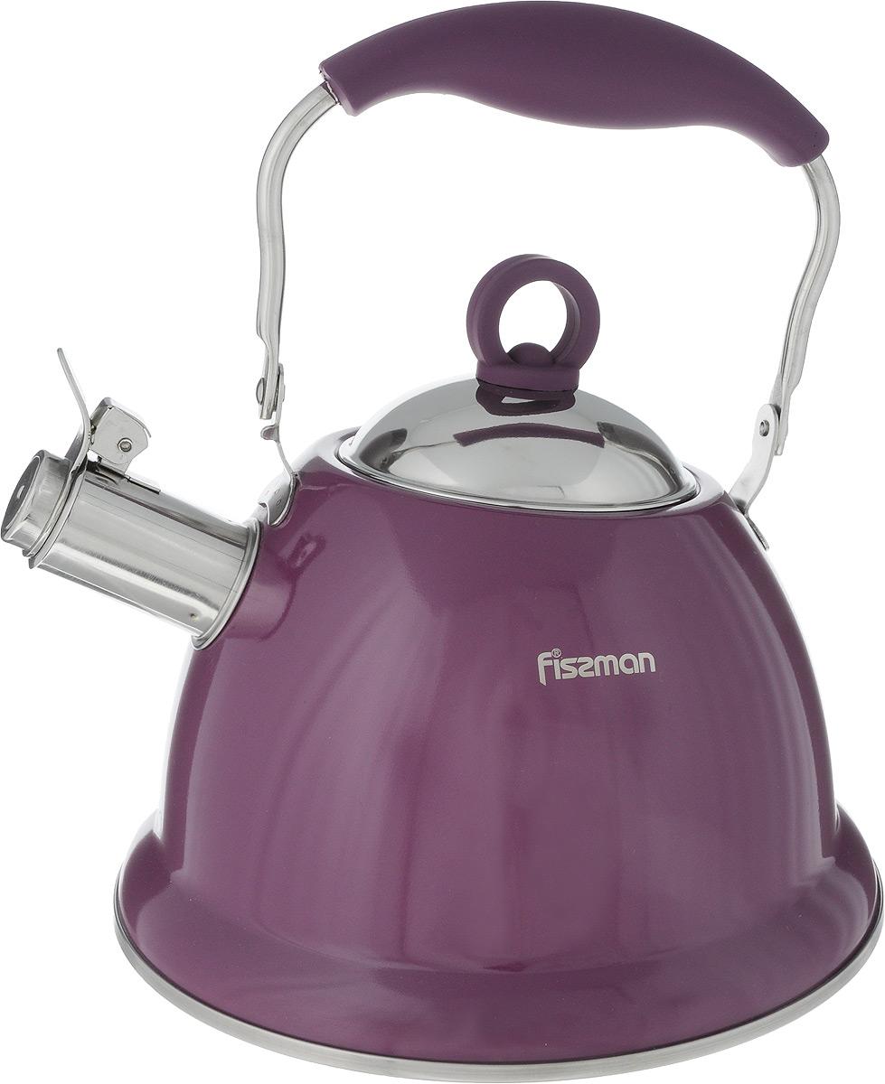Чайник Fissman Florence, со свистком, цвет: фиолетовый, 2,6 лKT-5933.2.6_фиолетовыйЧайник Fissman Florence изготовлен из экологически чистой, безопасной для здоровья человека высококачественной нержавеющей стали 18/10, с помощью которой вода не приобретает посторонний запах и вкус. Капсульное дно обеспечивает равномерное распределение тепла, а сами вы можете регулировать скорость и температуру нагрева. Носик оснащен откидным свистком. Ручка из нержавеющей стали, обтянутая жаропрочным силиконом, не нагревается, поэтому безопасна и комфортна для использования. Используя ежедневно чайник Fissman вы будете постоянно ощущать тепло и уют на вашей кухне. Подходит для использования на газовых, электрических и стеклокерамических плитах, включая индукционные. Можно мыть в посудомоечной машине. Диаметр чайника (по верхнему краю): 9,5 см. Высота чайника (без учета крышки и ручки): 13 см. Высота чайника (с учетом ручки): 25,5 см.
