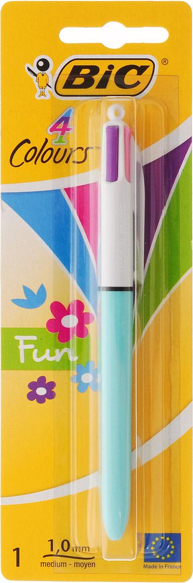 Bic Ручка шариковая Colours Fun 4 в 1 цвет корпуса голубой96732САвтоматическая шариковая ручка Bic Colours Fun - это четырехцветная ручка, позволяющая писать любым из четырех цветов: фиолетовый, розовый, зеленый, голубой. Она имеет удобный автоматический механизм и утолщенный корпус.