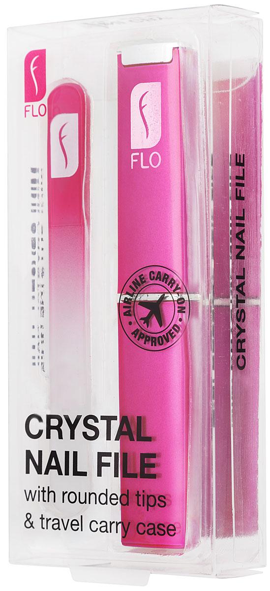 Flo Маникюрная пилка Travel Crystal, с футляром, цвет: фуксия5010777142037Стеклянная пилочка для ногтей 90 мм. Защищена противоударным чехлом. Материал: стекло, пластик