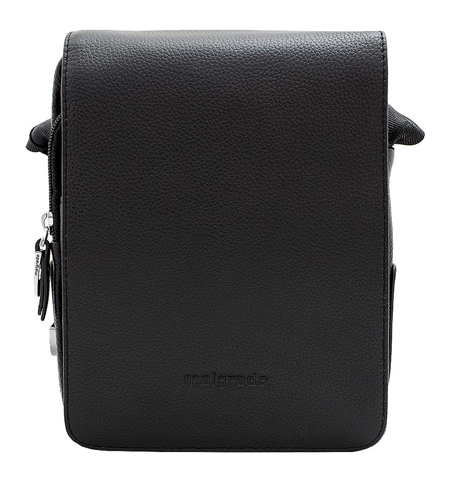 Сумка мужская Malgrado, цвет: черный. BR10-468 blackBR10-468 blackМужская сумка Malgrado выполнена из натуральной кожи черного цвета. Сумка состоит из одного отделения, закрывающегося на застежку-молнию и сверху широким клапаном на магниты. Внутри отделения - открытый накладной карман, вшитый карман на молнии, два накладных кармашка для мелочей и два фиксатора для пишущих принадлежностей. Под клапаном предусмотрен карман на молнии и открытый накладной карман для бумаг и документов. На лицевой стороне, на задней стенке сумки расположен глубокий карман для бумаг на молнии. Сумка оснащена актуальной ручкой-лентой регулируемой длины. Сегодня мужская сумка - необходимый аксессуар для современного мужчины. Характеристики: Материал: натуральная кожа, металл, текстиль. Цвет: черный. Размер сумки: 18 см х 24 см х 8 см. Высота ручки (регулируется): 45 см. Артикул: BR10-468.