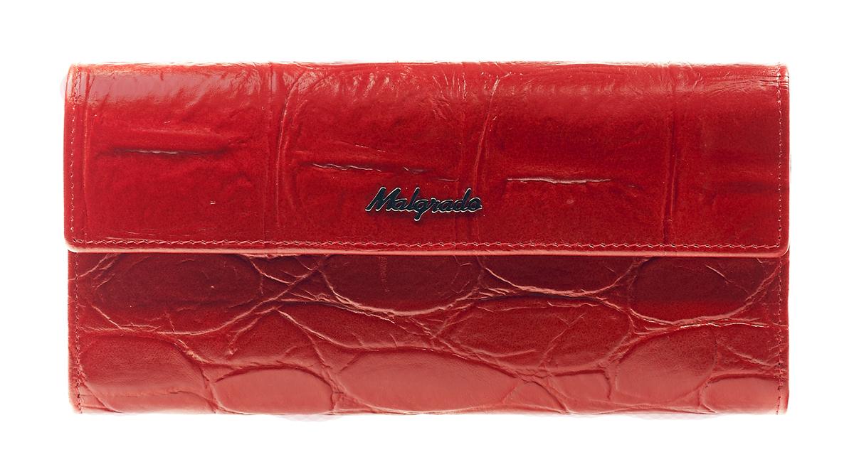 Кошелек женский Malgrado, цвет: красный. 72044-1-29102#72044-1-29102# RedСтильный кошелек Malgrado изготовлен из натуральной кожи красного цвета с декоративным тиснением и вмещает в себя купюры в развернутом виде в полную длину. Внутри содержит пять основных отделений, одно из которых закрывается на кнопку, внутри расположено десять кармашков для карточек, визиток или кредиток и одно с прозрачным окошком, одно горизонтальное отделение и еще одно отделение на защелке для мелочи. С оборотной стороны расположен карман на молнии. Закрывается кошелек клапаном на кнопку. Кошелек упакован в подарочную металлическую коробку с логотипом фирмы. Такой кошелек станет замечательным подарком человеку, ценящему качественные и практичные вещи. Характеристики: Материал: натуральная кожа, текстиль, металл. Размер кошелька: 18 см х 10 см х 3 см. Цвет: красный. Размер упаковки: 23 см х 12,5 см х 4,5 см. Артикул: 72044-1-29102#.