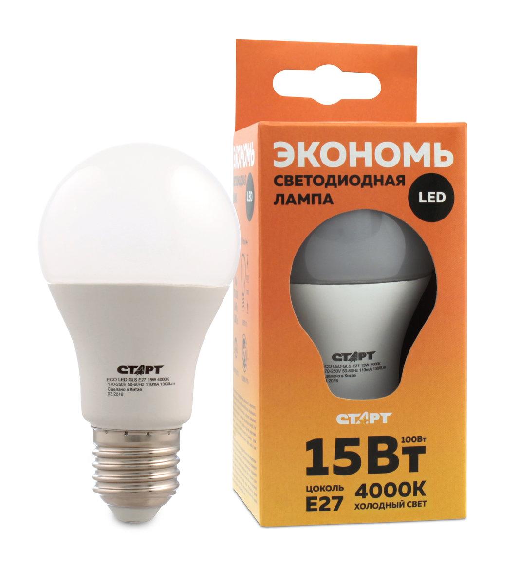 Лампа светодиодная СТАРТ Eco Лон, холодный свет, цоколь E27, 15W10665Лампа светодиодная СТАРТ Eco Лон, холодный свет, цоколь E27, 15W