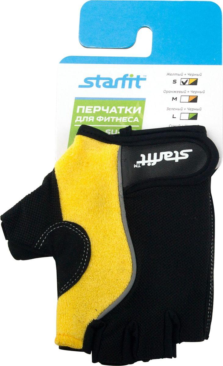 Перчатки для фитнеса Star Fit SU-108, цвет: желтый, черный. Размер SУТ-00008327Перчатки для фитнеса SU-108 - это перчатки для фитнеса STARFIT необходимы для безопасной тренировки со снарядами (грифы, гантели), во время подтягиваний и отжиманий. Они минимизируют риск мозолей и ссадин на ладонях. Характеристики: Материал: нейлон, кожа, полиэстер, эластан, поролон Размер: S Цвет: черный, желтый Производство: КНР Особенности: Стильный дизайн Эластичные