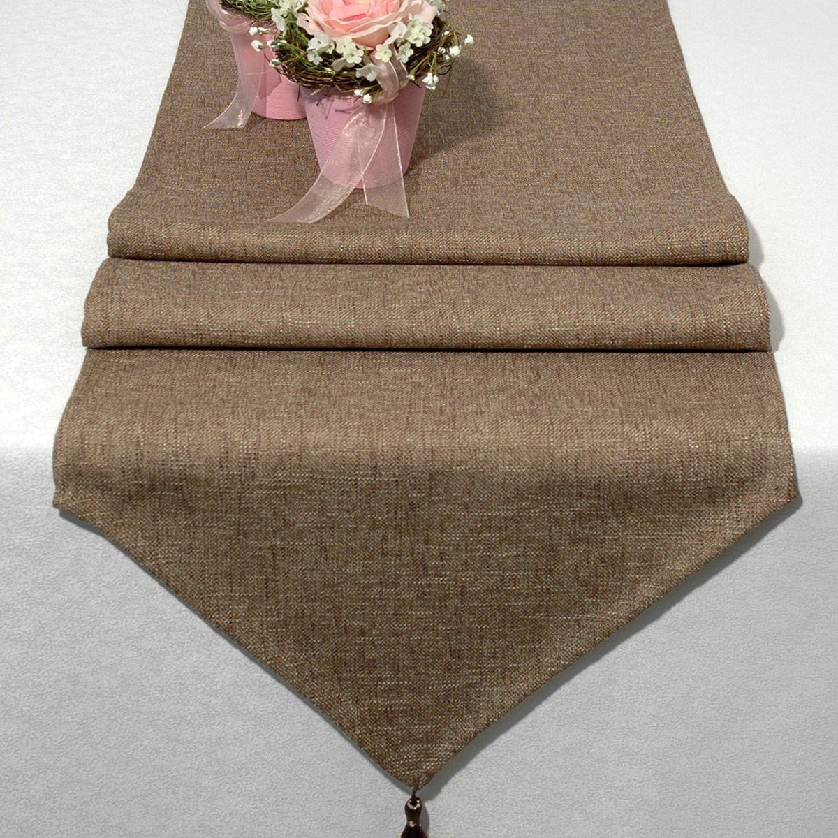 Дорожка для декорирования стола Schaefer, 40 x 160 см, цвет: светло-коричневый. 06747-254VT-1520(SR)Дорожка для декорирования стола Schaefer может быть использована, как основной элемент, так и дополнение для создания уюта и романтического настроения.Дорожка выполнена из полиэстера. Изделие легко стирать: оно не мнется, не садится и быстро сохнет, более долговечно, чем изделие из натуральных волокон.Материал: полиэстер, акрил Размер: 40 x 160 см.