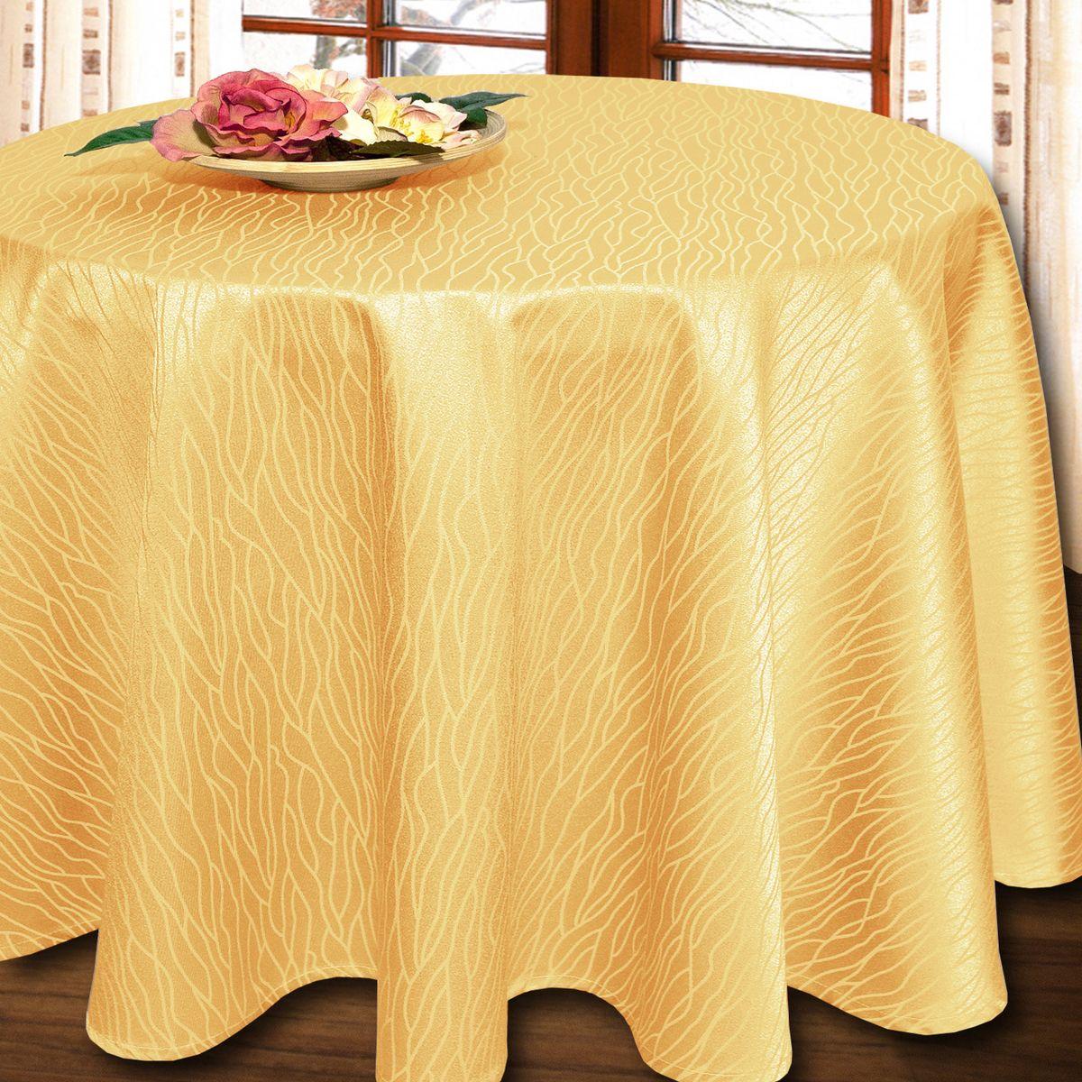 Скатерть Schaefer, круглая, цвет: желтый, диаметр 160 см. 07424-426VT-1520(SR)Круглая скатерть Schaefer выполнена из полиэстера и хлопка.Изделия из полиэстера легко стирать: они не мнутся, не садятся и быстро сохнут, они более долговечны, чем изделия из натуральных волокон.Немецкая компания Schaefer создана в 1921 году. На протяжении всего времени существования она создает уникальные коллекции домашнего текстиля для гостиных, спален, кухонь и ванных комнат. Дизайнерские идеи немецких художников компании Schaefer воплощаются в текстильных изделиях, которые сделают ваш дом красивее и уютнее и не останутся незамеченными вашими гостями. Дарите себе и близким красоту каждый день!