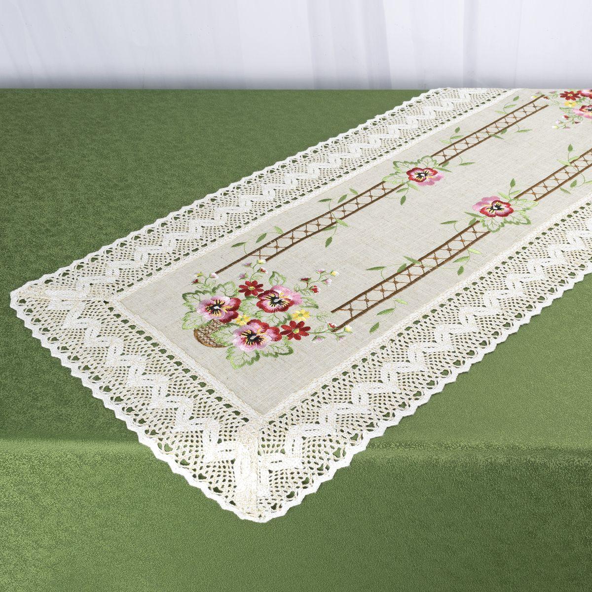 Дорожка для декорирования стола Schaefer, 40 x 90 см, цвет: белый. 07702-200VT-1520(SR)Дорожка для декорирования стола Schaefer может быть использована, как основной элемент, так и дополнение для создания уюта и романтического настроения.Дорожка выполнена из полиэстера. Изделие легко стирать: оно не мнется, не садится и быстро сохнет, более долговечно, чем изделие из натуральных волокон.Материал: 100% полиэстер.Размер: 40 x 90 см.