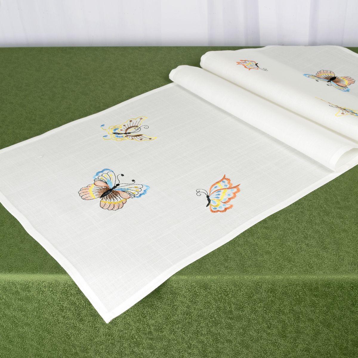 Дорожка для декорирования стола Schaefer, 40 x 140 см, цвет: белый. 07720-21180653Дорожка для декорирования стола Schaefer может быть использована, как основной элемент, так и дополнение для создания уюта и романтического настроения.Дорожка выполнена из полиэстера. Изделие легко стирать: оно не мнется, не садится и быстро сохнет, более долговечно, чем изделие из натуральных волокон.Материал: 100% полиэстер.Размер: 40 x 140 см