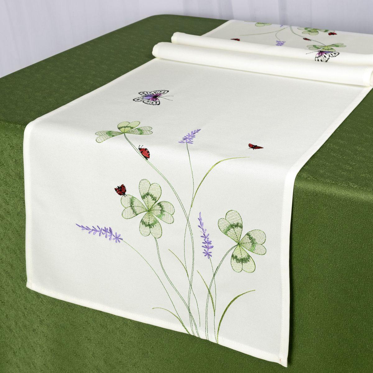 Дорожка для декорирования стола Schaefer, 40 x 140 см, цвет: белый. 07725-211VT-1520(SR)Дорожка для декорирования стола Schaefer может быть использована, как основной элемент, так и дополнение для создания уюта и романтического настроения.Дорожка выполнена из полиэстера. Изделие легко стирать: оно не мнется, не садится и быстро сохнет, более долговечно, чем изделие из натуральных волокон.Материал: 100% полиэстер.Размер: 40 x 140 см.