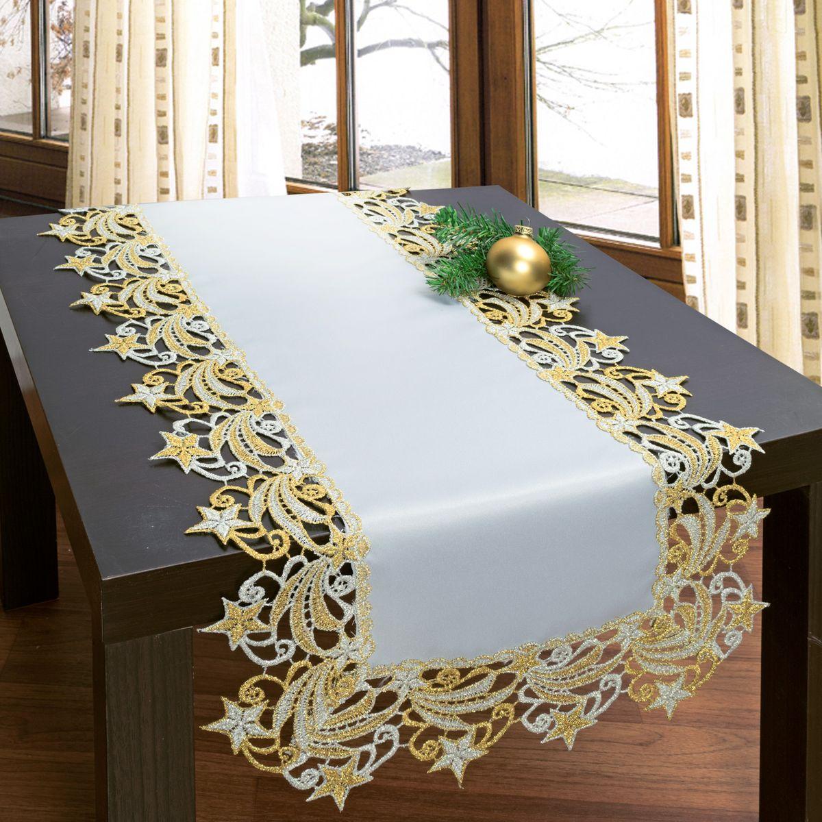 Дорожка для декорирования стола Schaefer, 40 х 100 см, цвет: белый, бежевый. 3076GC240/25Дорожка для декорирования стола Schaefer может быть использована, как основной элемент, так и дополнение для создания уюта и романтического настроения.Дорожка выполнена из полиэстера. Изделие легко стирать: оно не мнется, не садится и быстро сохнет, более долговечно, чем изделие из натуральных волокон.Материал: 100% полиэстер.Размер: 40 х 100 см.