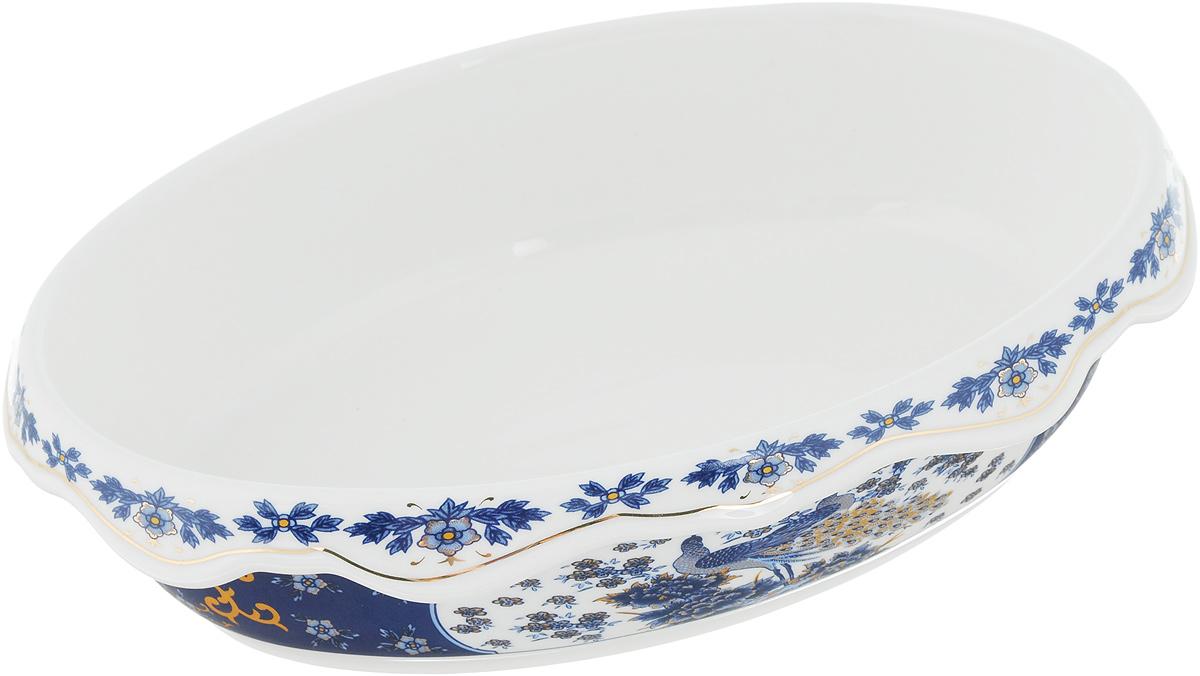 Блюдо-шубница Elan Gallery Павлин синий, 900 мл503598Блюдо-шубница Elan Gallery Синий павлин, изготовленное из высококачественной керамики, предназначено как для запекания, так и для последующей сервировки. Оформлено изделие оригинальным рисунком. Такое блюдо украсит сервировку вашего стола и подчеркнет прекрасный вкус хозяйки. Не использовать в микроволновой печи. Размер блюда: 22 х 15,5 х 5,6 см.