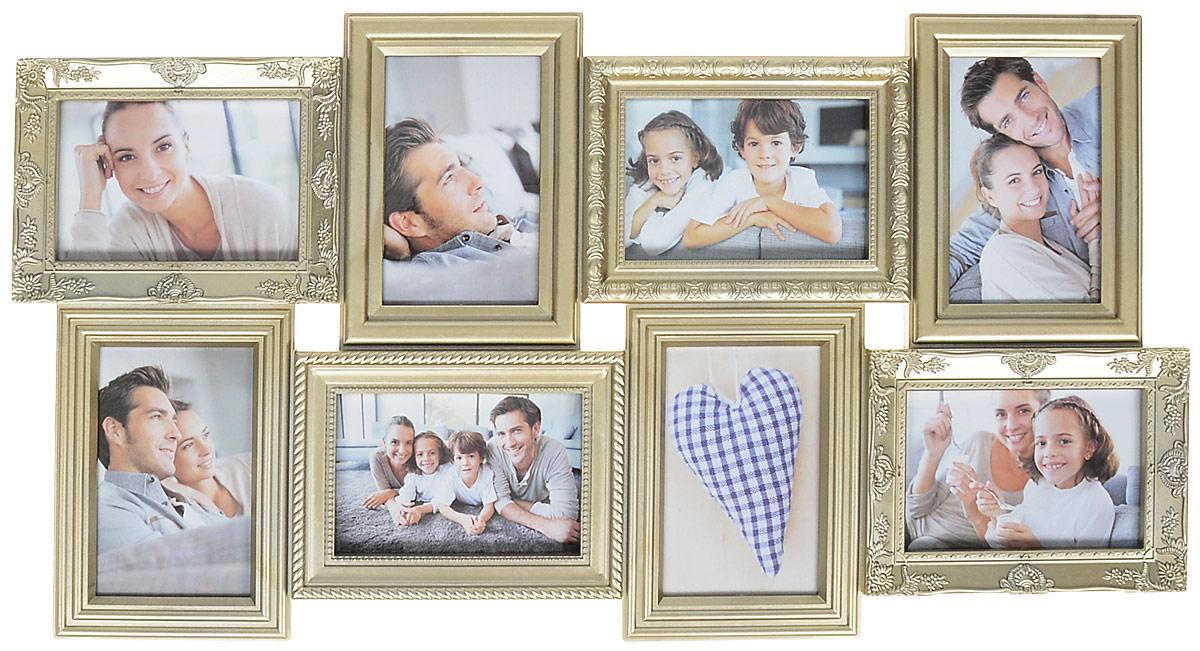 Фоторамка Platinum, цвет: шампань, на 8 фото 10 х 15 смUP210DFФоторамка Platinum - прекрасный способ красиво оформить ваши фотографии. Фоторамка выполнена из пластика и защищена стеклом. Фоторамка-коллаж представляет собой восемь фоторамок для фото одного размера оригинально соединенных между собой. Такая фоторамка поможет сохранить в памяти самые яркие моменты вашей жизни, а стильный дизайн сделает ее прекрасным дополнением интерьера комнаты.Фоторамка подходит для фотографий 10 х 15 см.Общий размер фоторамки: 35 х 68 см.