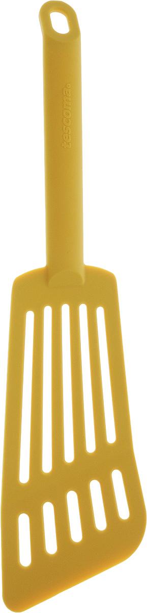Лопатка для омлета Tescoma Space Tone, цвет: желтый, длина 30 см638056_желтыйЛопатка Tescoma Space Tone изготовлена из высококачественного термостойкого нейлона, выдерживающего температуру до 210°С, и предназначена для переворачивания и подачи омлета. Такая кухонная принадлежность подходит для всех видов посуды, а также для посуды с антипригарным покрытием. Лопатка Tescoma Space Tone станет вашим незаменимым помощником на кухне, а также это практичный и необходимый подарок любой хозяйке! Можно мыть в посудомоечной машине. Общая длина лопатки: 30 см. Размер рабочей поверхности: 16 х 7,5 см.