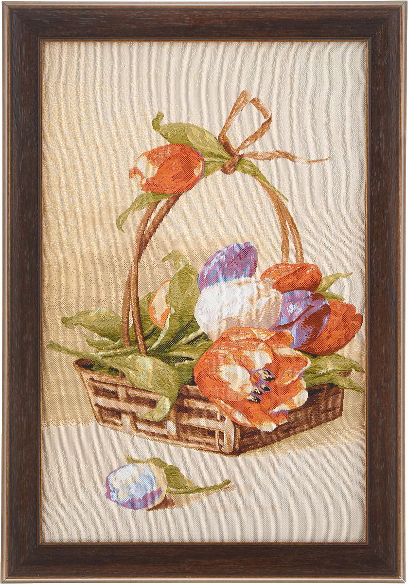 Картина в раме Рапира Корзина тюльпанов - 2, 25 х 36 см5269Гобеленовая картина Рапира Корзина тюльпанов - 2 поможет украсить интерьер, придаст обстановке безмятежность и шик. Изделие оформлено в красивую рамку под дерево. Задняя часть картины оснащена двумя петельками для подвешивания. Картина Корзина тюльпанов - 2 идеально подойдет к любому интерьеру и станет отличным подарком. Размер картины (без учета рамки): 20 х 31 см.