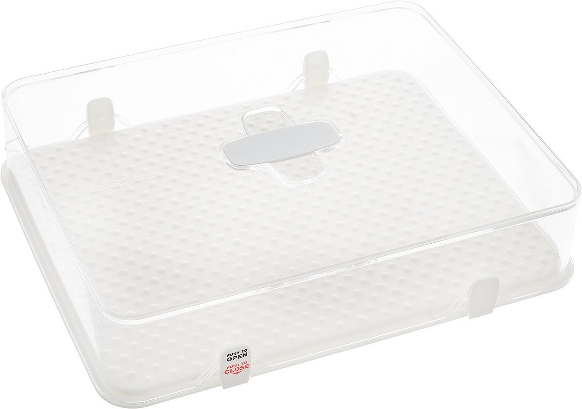 Kонтейнер для холодильника Tescoma Purity, 28 х 22 х 6,5 смVT-1520(SR)Kонтейнер Tescoma Purity выполнен из высококачественного пищевого пластика, который используется в здравоохранении и фармацевтики. Изделие отлично подходит для гигиеничного хранения продуктов в холодильнике. Используемый материал не влияет на качество продуктов даже при длительном хранении. В комплекте имеются запасные замки-крылышки.Можно мыть в посудомоечной машине.