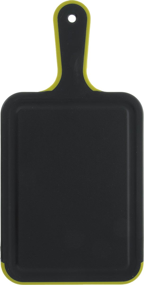 Доска разделочная Kesper, с ручкой, 33,5 х 16,5 х 0,5 см3091-0_салатовый, черныйДоска разделочная Kesper, изготовленная из пищевого пластика, оснащена удобной ручкой с отверстием для подвешивания. По краю изделия предусмотрена канавка, благодаря которой сок от продуктов не попадает при резке на столешницу. Функциональная и простая в использовании разделочная доска Kesper прекрасно впишется в интерьер любой кухни и прослужит вам долгие годы.