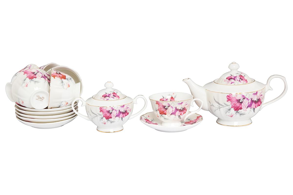 Набор чайный Elan Gallery Серебристый мак, 14 предметов115610Великолепный чайный набор Серебристый мак на 6 персон станет шикарным подарком. В комплекте 6 чашек объемом 250 мл, 6 блюдец, сахарница объемом 450 мл, чайник объемом 1100 мл. Изделие имеет подарочную упаковку, поэтому станет желанным подарком для Ваших близких!