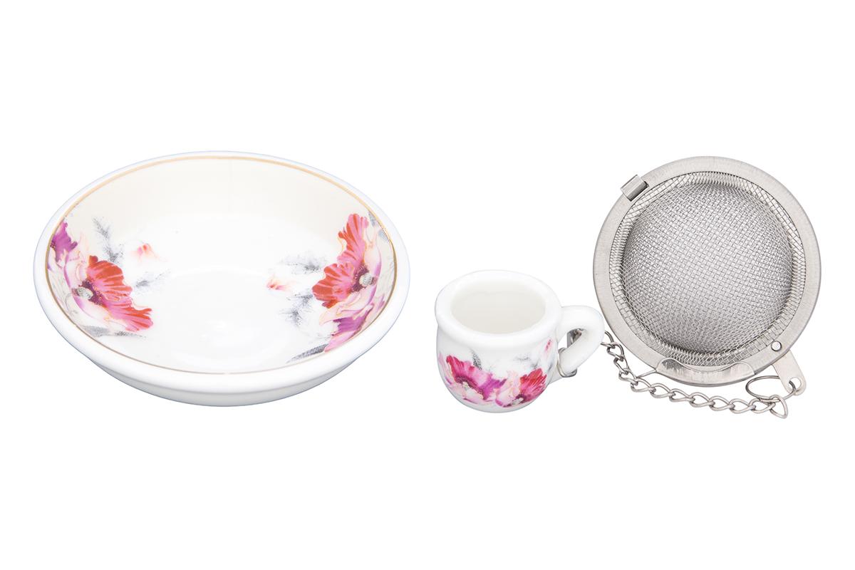 Набор для заваривания чая Elan Gallery Серебристый мак, 2 предмета740458Набор для заваривания чая из ситечка и подставки, с нежным рисунком Серебристый мак придется по вкусу любой хозяйке. Приятный и полезный аксессуар на Вашей кухне.