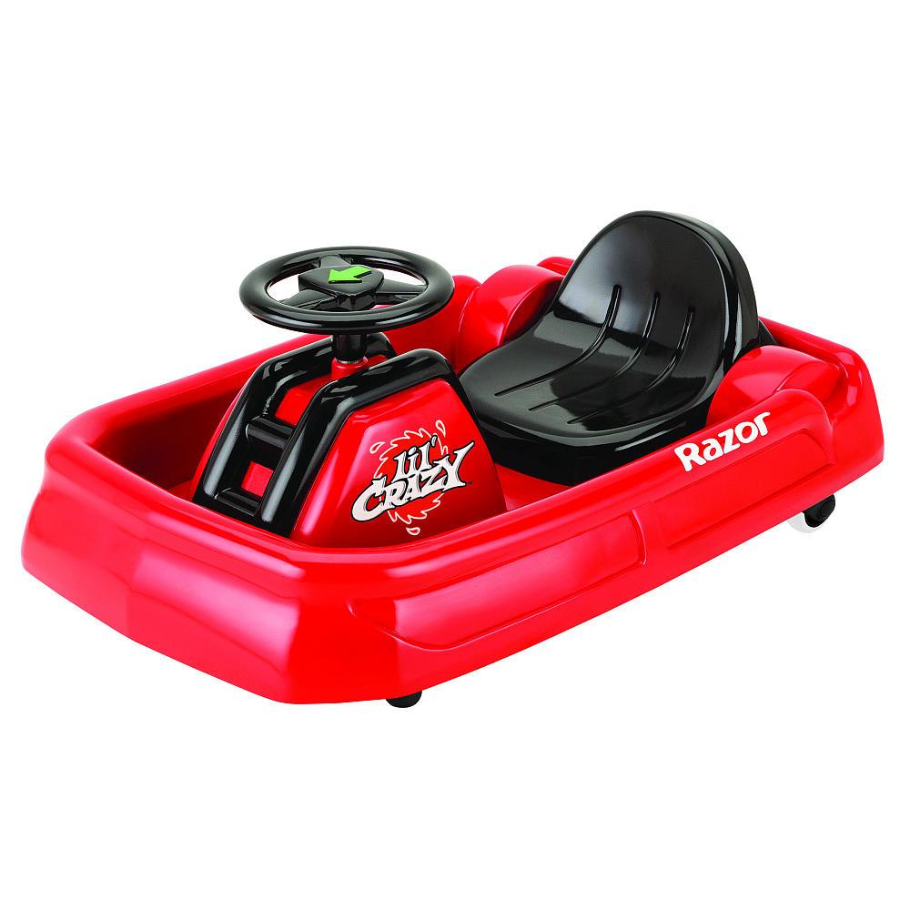 Электросамокат детский Razor Lil Crazy, цвет: красный041201Хит продаж и игрушка 2014 года: большой Crazy Cart, теперь доступен в меньшем размере, для самых маленьких экстремалов, которые только готовы освоить дрифт, скорость, вращения и движение боком. Этот карт специально разработан для юных гонщиков, имеет адаптивное управление и небольшую скорость в 3,5 км/час. От 2 лет Для детей ростом от 80 до 120 см. Максимальная скорость 3,5 км/час Максимальная нагрузка 20 кг. Запас хода на 40 минут Адаптированный мотор для маленьких райдеров АКБ свинцово-кислотные на 6В Педаль активации мотора Мягкая резина для комфортной езды Помогает стимулировать и развивать координацию Ширина LilCrazy 47 см, общая длина 69 см. Требуется частичная сборка Гарантия 6 месяцев!