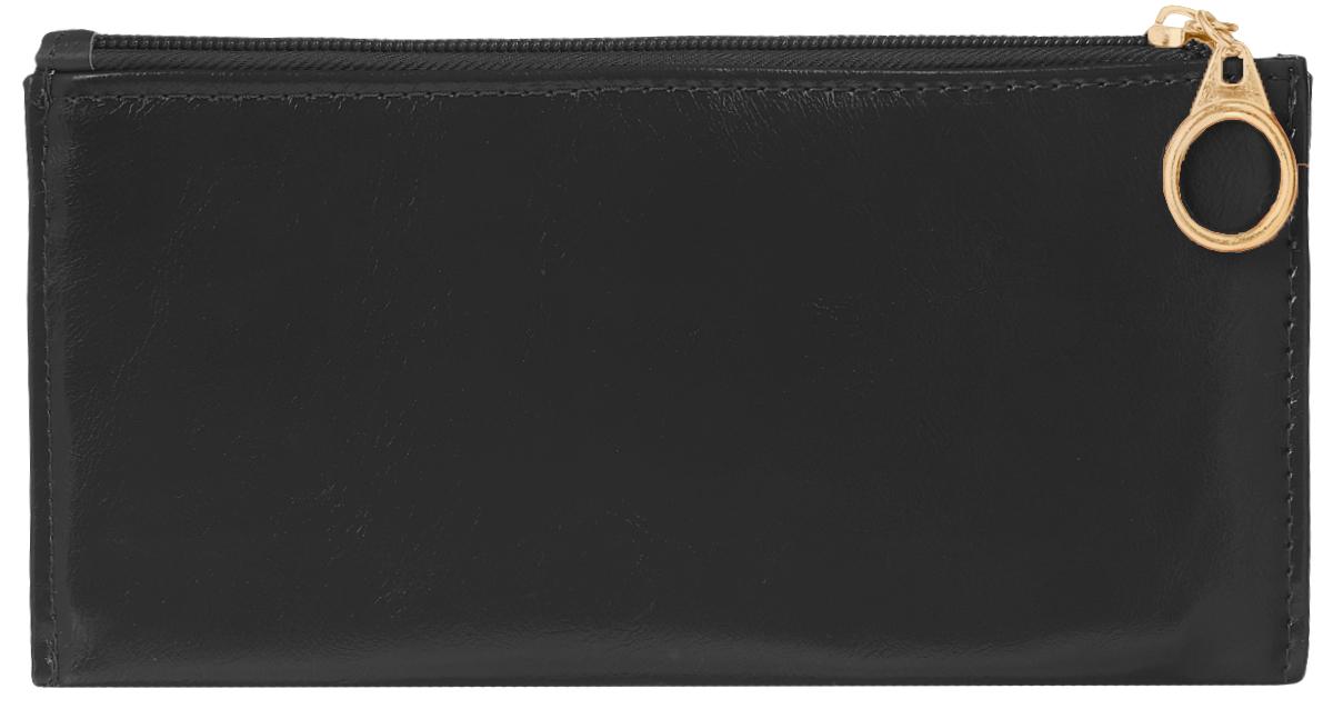 Кошелек женский Leighton, цвет: черный. 741ICE 8508Стильный женский кошелек Leighton выполнен из искусственной кожи и закрывается на застежку-молнию. Подкладка кошелька изготовлена из полиэстера. Изделие содержит три отделения для купюр, восемь карманов для пластиковых карт, снаружи карман на молнии.