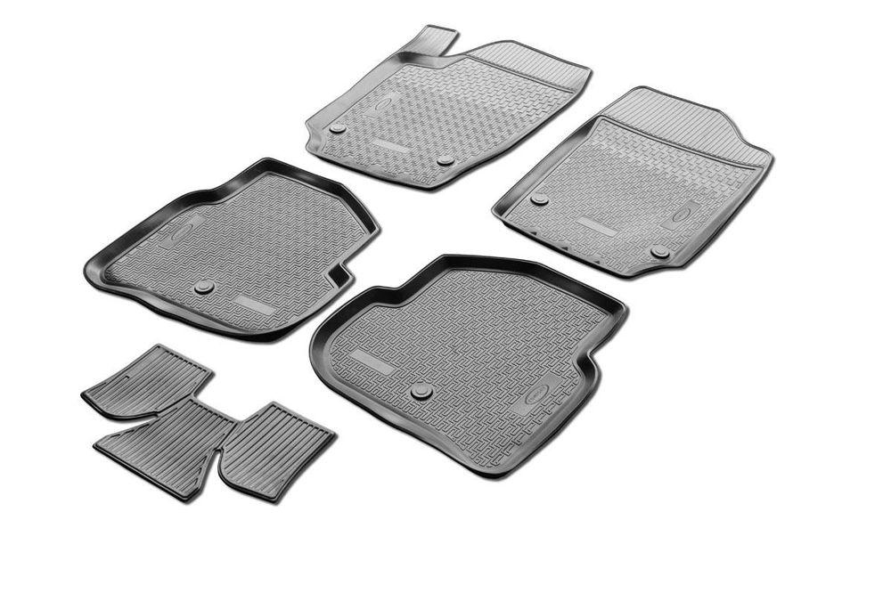 Коврики салона Rival для Ford Ecosport 2013-, c перемычкой, полиуретан0011803001Прочные и долговечные коврики Rival в салон автомобиля, изготовлены из высококачественного и экологичного сырья, полностью повторяют геометрию салона вашего автомобиля. - Надежная система крепления, позволяющая закрепить коврик на штатные элементы фиксации, в результате чего отсутствует эффект скольжения по салону автомобиля. - Высокая стойкость поверхности к стиранию. - Специализированный рисунок и высокий борт, препятствующие распространению грязи и жидкости по поверхности коврика. - Перемычка задних ковриков в комплекте предотвращает загрязнение тоннеля карданного вала. - Произведены из первичных материалов, в результате чего отсутствует неприятный запах в салоне автомобиля. - Высокая эластичность, можно беспрепятственно эксплуатировать при температуре от -45 ?C до +45 ?C. Уважаемые клиенты! Обращаем ваше внимание, что коврики имеет форму соответствующую модели данного автомобиля. Фото служит для визуального восприятия товара.