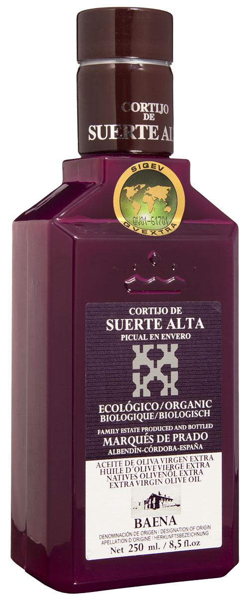 Suerte Alta Пикуаль оливковое масло Extra Virgin, 250 мл0120710Суэртэ Альта Пикуаль - нерафинированное оливковое масло первого холодного отжима премиум класса кислотностью 0,2%, которая является лечебной по испанским законам. ЭКОЛОГИЧЕСКИЙ ФЕРМЕРСКИЙ ПРОДУКТ из оливок сорта Пикуаль раннего сбора урожая. Диетический продукт! ОРГАНИЧЕСКОЕ оливковое масло от семьи Мануэля Эредия Альскон, маркиза Прадо. Компания основана его дедом в 1924 году. С 1996 года компания официально занимается Органическим сельским хозяйством, о чем свидетельствует сертификат C.A.A.E.- Совета по органическому земледелию Андалусии, а также аналогичные сертификаты США, Японии и Европейского совета. Поместье находится недалеко от городка Баэна (провинция Кордоба) - официальной столицы оливкового масла Испании. Именно здесь ежегодно проходит праздник молодого оливкового масла.