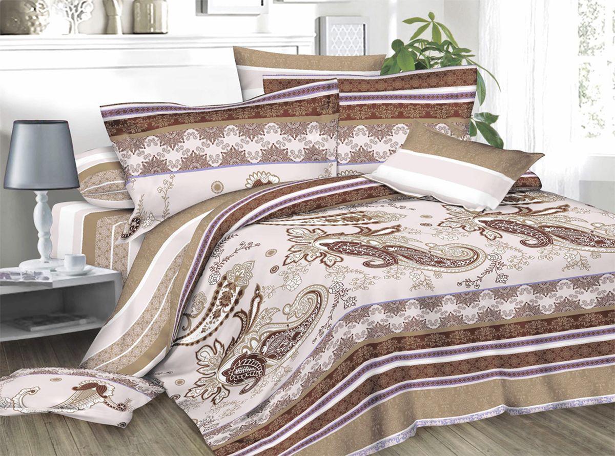 Комплект белья Amore Mio Natali, 1,5-спальный, наволочки 70x70, цвет: бежевый, коричневый82872Комплект постельного белья Amore Mio является экологически безопасным для всей семьи, так как выполнен из сатина (100% хлопок). Постельное белье оформлено оригинальным рисунком и имеет изысканный внешний вид. Сатин - это ткань сатинового (атласного) переплетения нитей. Имеет гладкую, шелковистую лицевую поверхность, на которой преобладают уточные нити (уток - горизонтально расположенные в тканом полотне нити). Сатин изготавливается из крученой хлопковой нити двойного плетения. Он чрезвычайно приятен на ощупь, не электризуется и не скользит по кровати. Сатин прекрасно сохраняет форму и не мнется, отлично пропускает воздух, что позволяет телу дышать и дарит здоровый и комфортный сон. Комплект состоит из пододеяльника, простыни и двух наволочек.