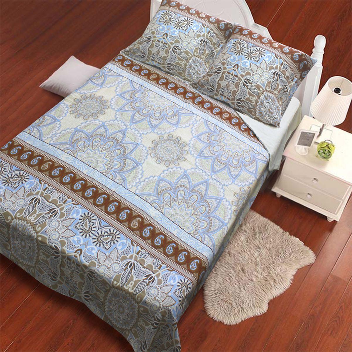 Комплект белья Amore Mio Vostok, 2-спальный, наволочки 70x70, цвет: молочный, бежевый, голубой82914Комплект постельного белья Amore Mio является экологически безопасным для всей семьи, так как выполнен из сатина (100% хлопок). Постельное белье оформлено оригинальным рисунком и имеет изысканный внешний вид. Сатин - это ткань сатинового (атласного) переплетения нитей. Имеет гладкую, шелковистую лицевую поверхность, на которой преобладают уточные нити (уток - горизонтально расположенные в тканом полотне нити). Сатин изготавливается из крученой хлопковой нити двойного плетения. Он чрезвычайно приятен на ощупь, не электризуется и не скользит по кровати. Сатин прекрасно сохраняет форму и не мнется, отлично пропускает воздух, что позволяет телу дышать и дарит здоровый и комфортный сон. Комплект состоит из пододеяльника, простыни и двух наволочек.
