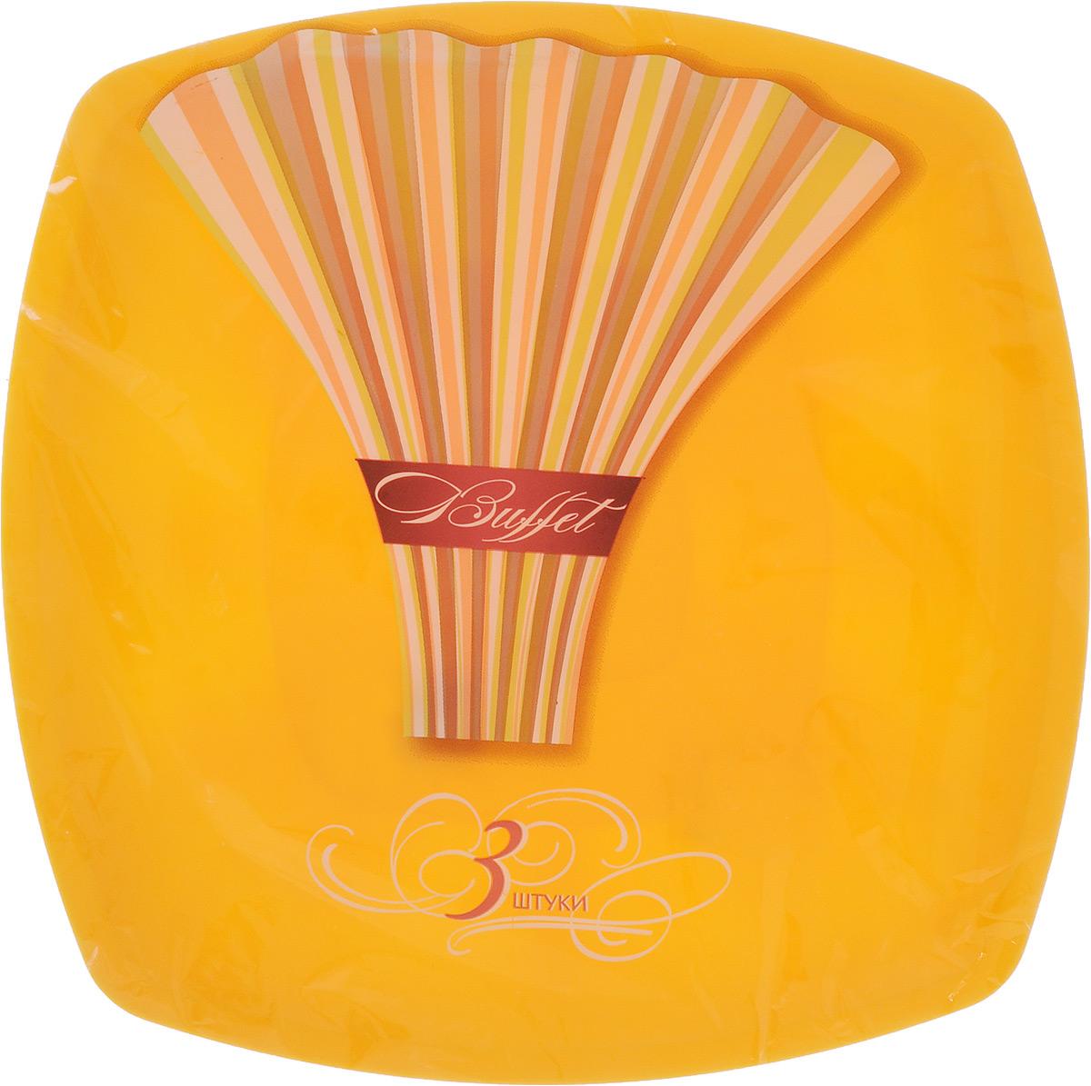 Набор одноразовых тарелок Buffet, цвет: желтый, 30 х 30 см, 3 шт183207_желтыйНабор Buffet состоит из 3 квадратных тарелок, выполненных из полипропилена и предназначенных для одноразового использования. Одноразовые тарелки будут незаменимы при поездках на природу, пикниках и других мероприятиях. Они не займут много места, легки и самое главное - после использования их не надо мыть. Размер тарелки (по верхнему краю): 30 х 30 см. Высота тарелки: 1 см.