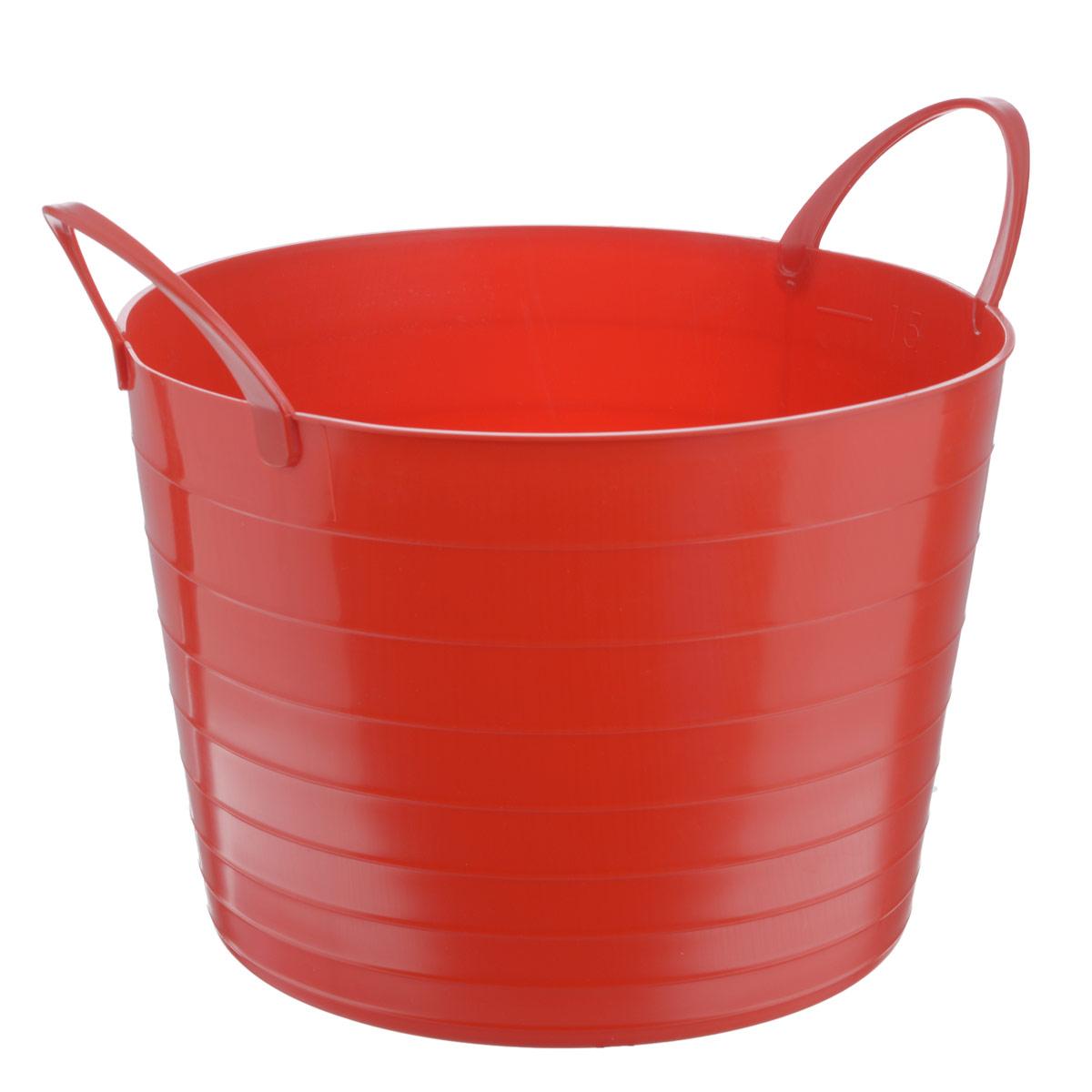 Корзина мягкая Idea, цвет: красный, 17 лМ 2880Мягкая корзина Idea изготовлена из гибкого полиэтилена и оснащена двумя удобными ручками. Внутренняя поверхность имеет отметки литража. Такой корзинке можно найти множество применений в быту: для строительства, для сбора фруктов, овощей и грибов, для хранения бытовых предметов и многого другого. Такая корзина пригодится в любом хозяйстве. Размер (без учета ручек): 33,5 х 33,5 х 24 см.