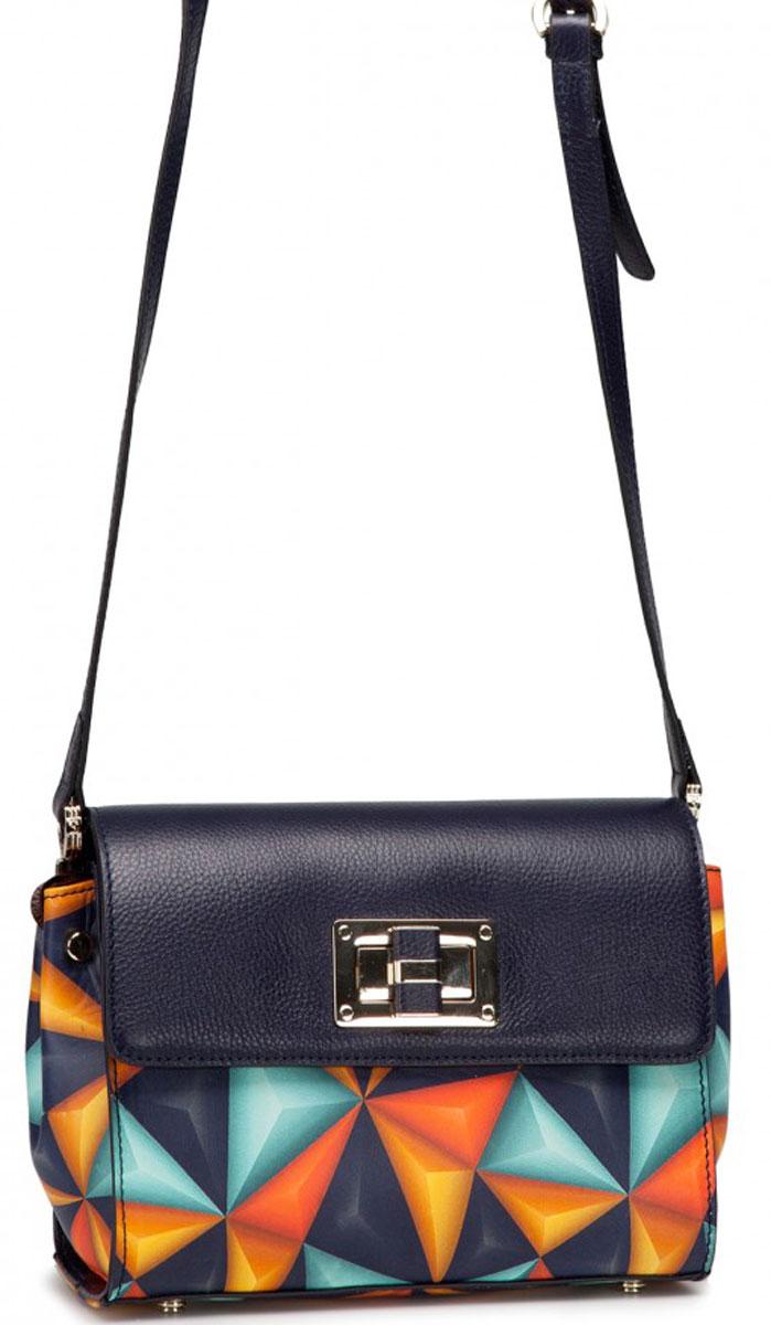 Сумка женская Eleganzza, цвет: темно-синий, оранжевый. ZK47-5491-1ZK47-5491-1Женская сумка торговой марки ELEGANZZA из натуральной кожи. Сумка закрывается на клапан и металлическую молнию. Внутри - одно отделение, в котором карман на молнии, карман для мобильного телефона и открытый карман. Сумка имеет ножки на дне, а так же карман на задней стенке. Длина наплечного ремня - 115 см.