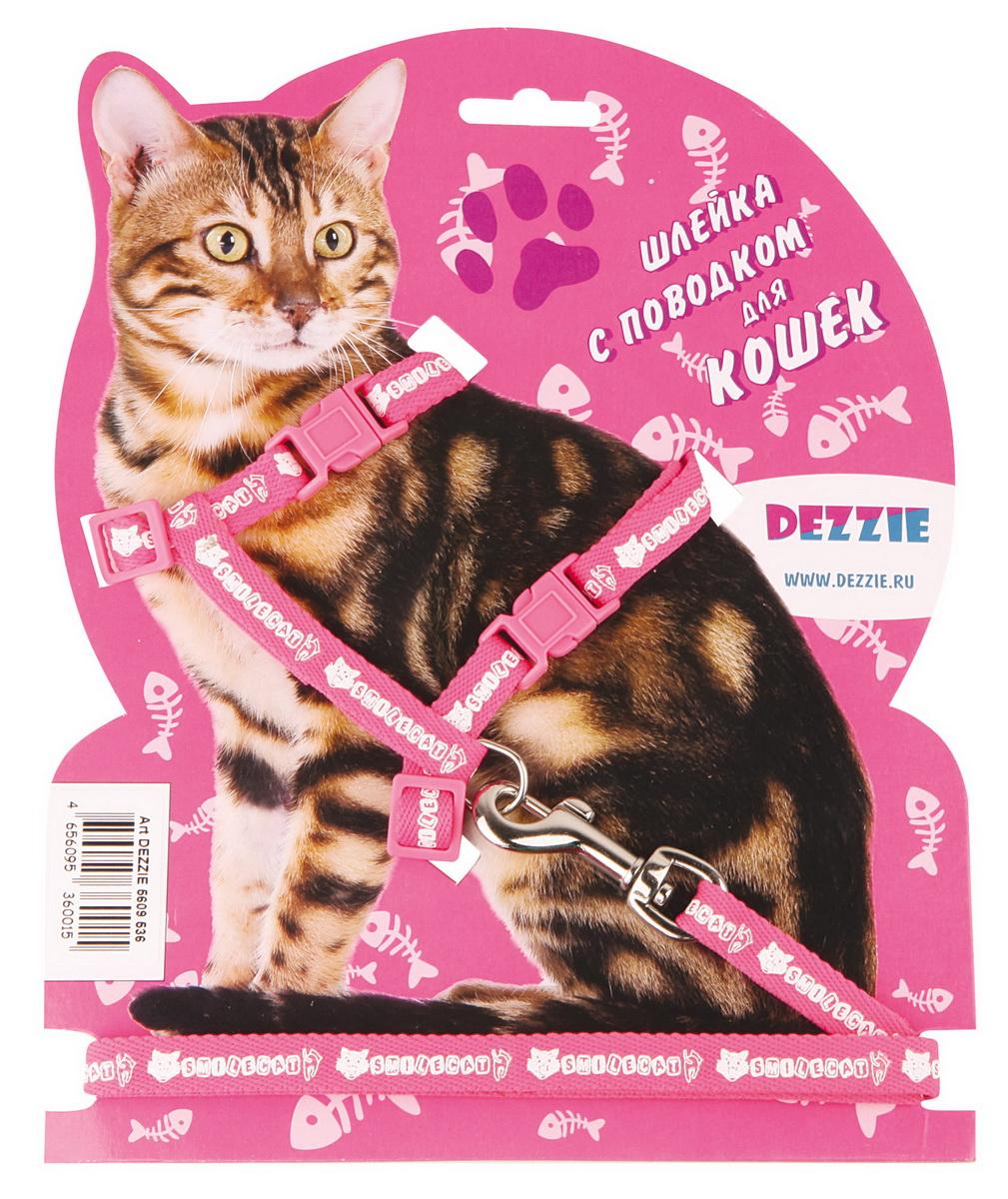 Шлейка для кошек Dezzie, с поводком, ширина 1 см, обхват груди 27-46 см, цвет: розовый, белый. 56095380120710Шлейка Dezzie, изготовленная из прочного нейлона, подходит для кошек крупных размеров. Крепкие пластиковые элементы делают ее надежной и долговечной. Обхват шлейки регулируется при помощи пряжек. В комплект входит поводок из нейлона, который крепится к шлейке с помощью металлического карабина. Шлейка и поводок оформлены изображением. Шлейка - это альтернатива ошейнику. Правильно подобранная шлейка не стесняет движения питомца, не натирает кожу, поэтому животное чувствует себя в ней уверенно и комфортно.Обхват груди: 27-46 см.Ширина шлейки/поводка: 1 см.Длина поводка: 120 см.Длина ошейника: 27-46 см.