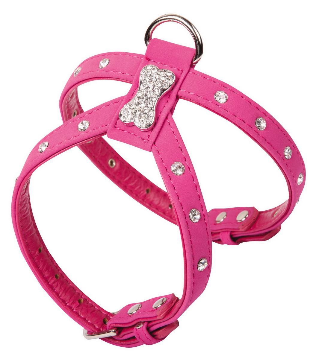 Шлейка для собак Dezzie, цвет: розовый, обхват шеи 15-20 см, обхват груди 22-27 см. Размер S. 56240785624078Шлейка Dezzie, изготовленная из бархата и украшенная металлической вставкой в виде косточки и стразами подходит для собак мелких пород. Крепкие металлические элементы делают ее надежной и долговечной. Шлейка - это альтернатива ошейнику. Правильно подобранная шлейка не стесняет движения питомца, не натирает кожу, поэтому животное чувствует себя в ней уверенно и комфортно. Изделие отличается высоким качеством, удобством и универсальностью. Имеется металлическое кольцо для крепления поводка. Размер регулируется при помощи пряжек. Обхват шеи: 15-20 см. Обхват груди: 22-27 см.