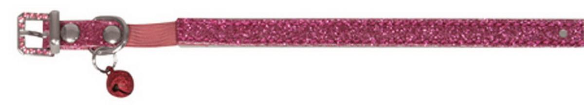 Ошейник для кошек Dezzie, с бубенчиком, цвет: темно-розовый, обхват шеи 26 см, ширина 1 см. Размер XS. 56244025624402Ошейник для кошек Dezzie, изготовленный из полиэстера, декорирован стразами и дополнен бубенчиком. Ошейник застегивается на металлическую пряжку. Резиновая вставка позволяет ошейнику надежно зафиксироваться на шее питомца, не нанося дискомфорт шерсти и позволяя свободно дышать, и при необходимости легко снять аксессуар. Бубенчик позволит контролировать местонахождение кошки, а также будет оберегать уличных птиц от нежелательного контакта. Имеется металлическое кольцо для крепления поводка. Обхват шеи: 26 см. Ширина ошейника: 1 см.