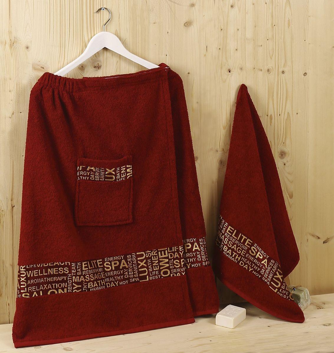 Набор для сауны Karna Relax, цвет: бордовый, 2 предмета1239/CHAR001
