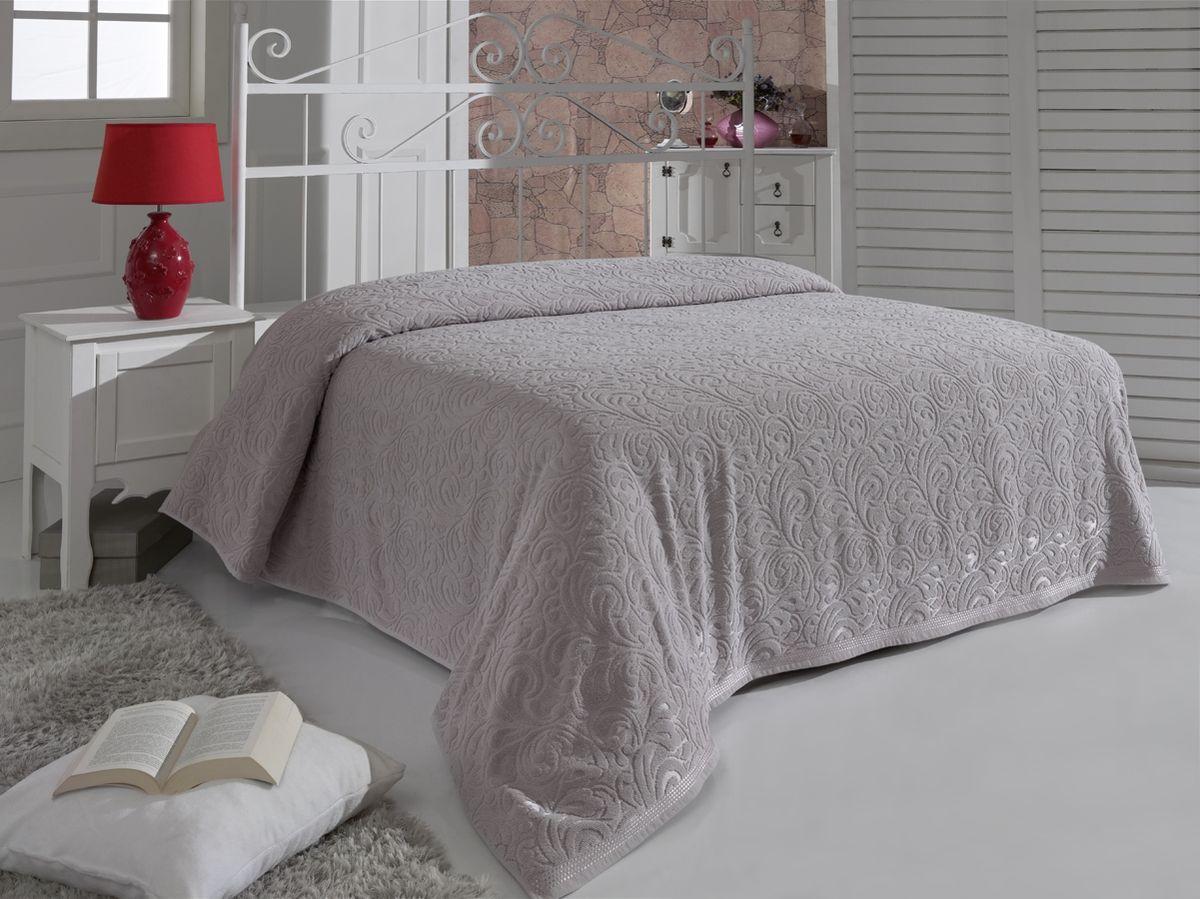 Простыня махровая Karna Esra, цвет: стоне, 200 x 220 см1788/CHAR006